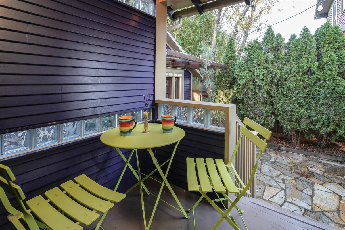 Sip your morning coffee or tea on this covered porch.