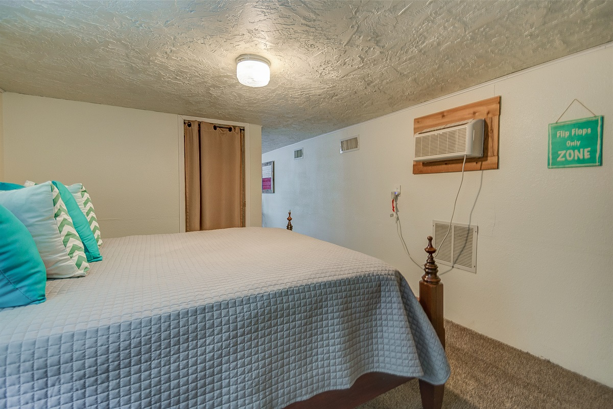 BR 3, downstairs, Queen, + air mattress available