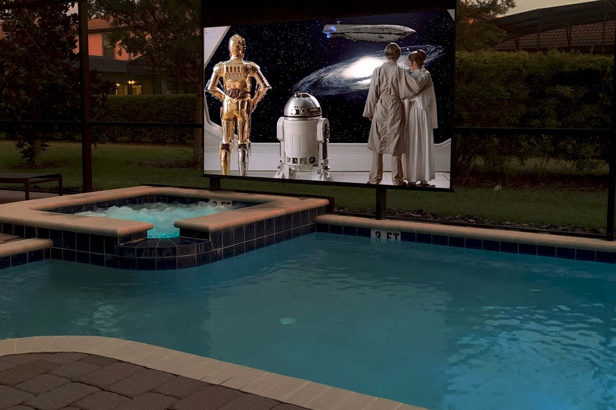 """Poolside Theater-125"""" Screen-4K Projector-Surround Sound"""