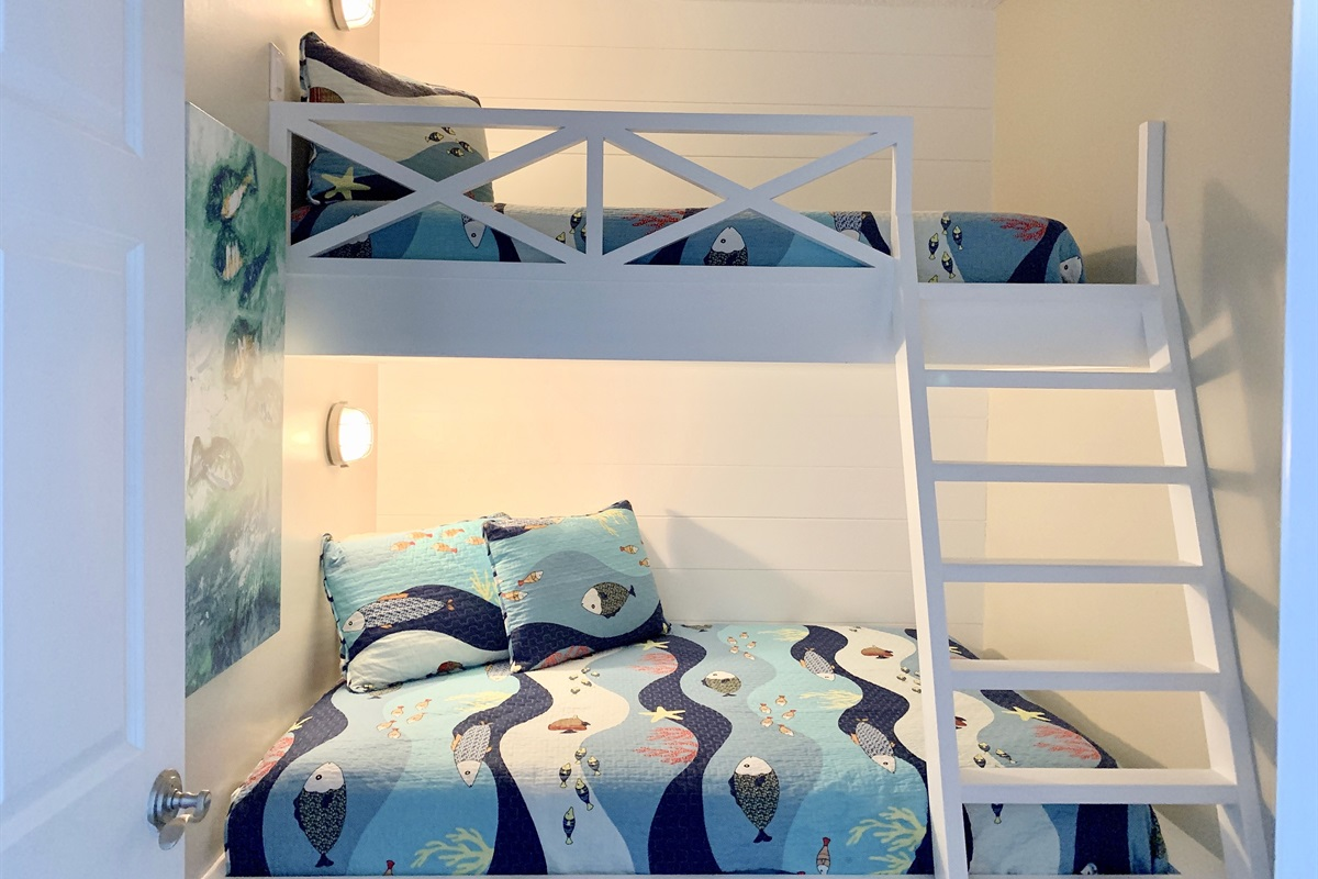 Bunk room with CUSTOM twin over full bunks