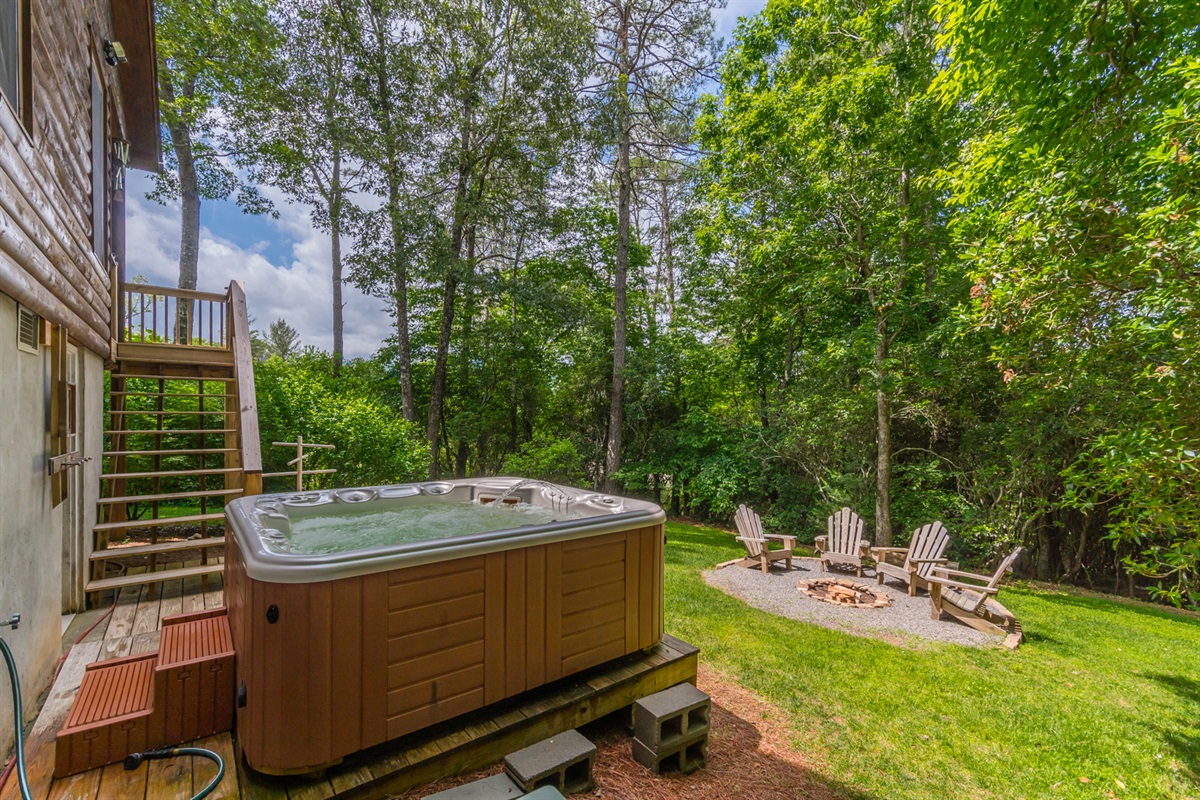 Spacious Spa Hot Tub Accessible by Stairs Off of Main Floor Deck