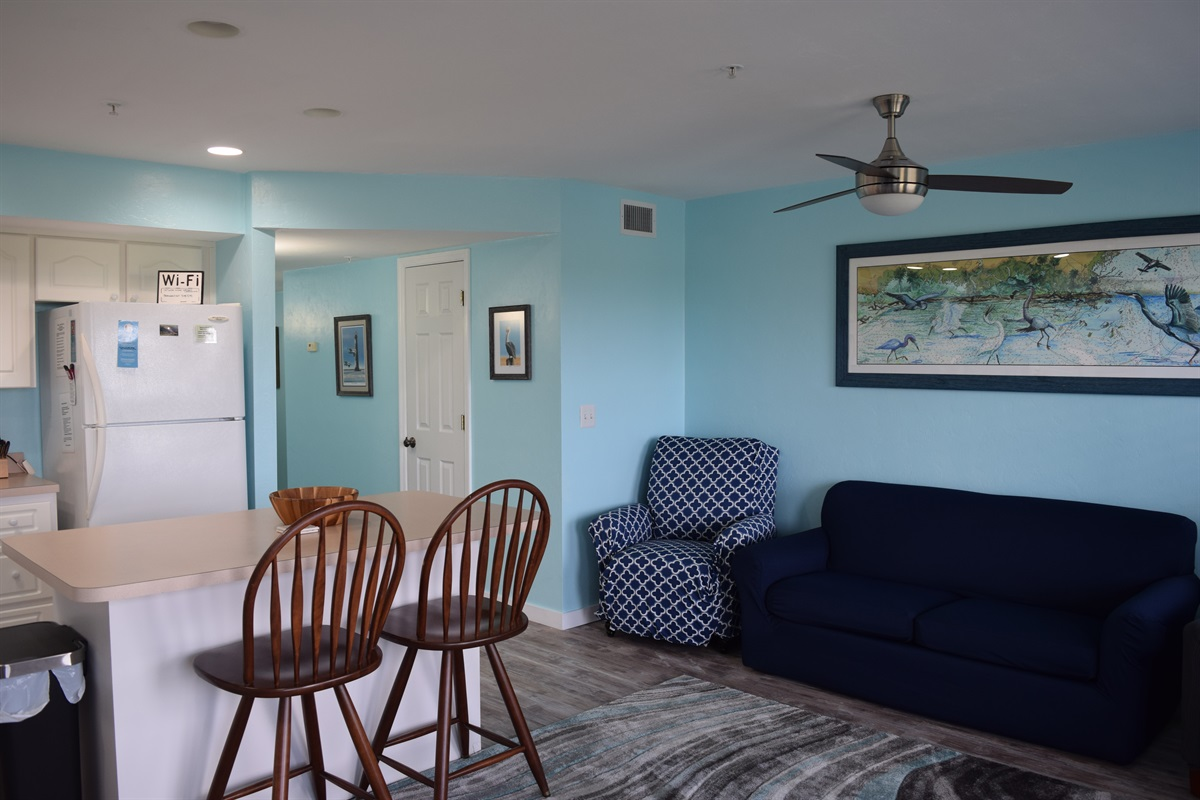 Living area and bar seating