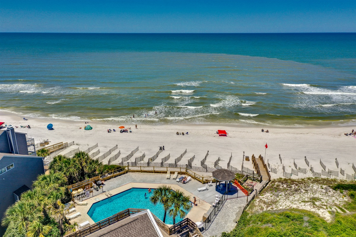 Aerial view of Gulf front pool