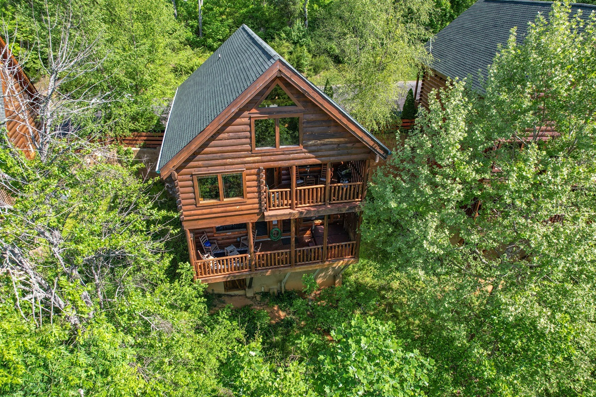 The two decks at the back of our cabin. Drone pic not indicative of the view.