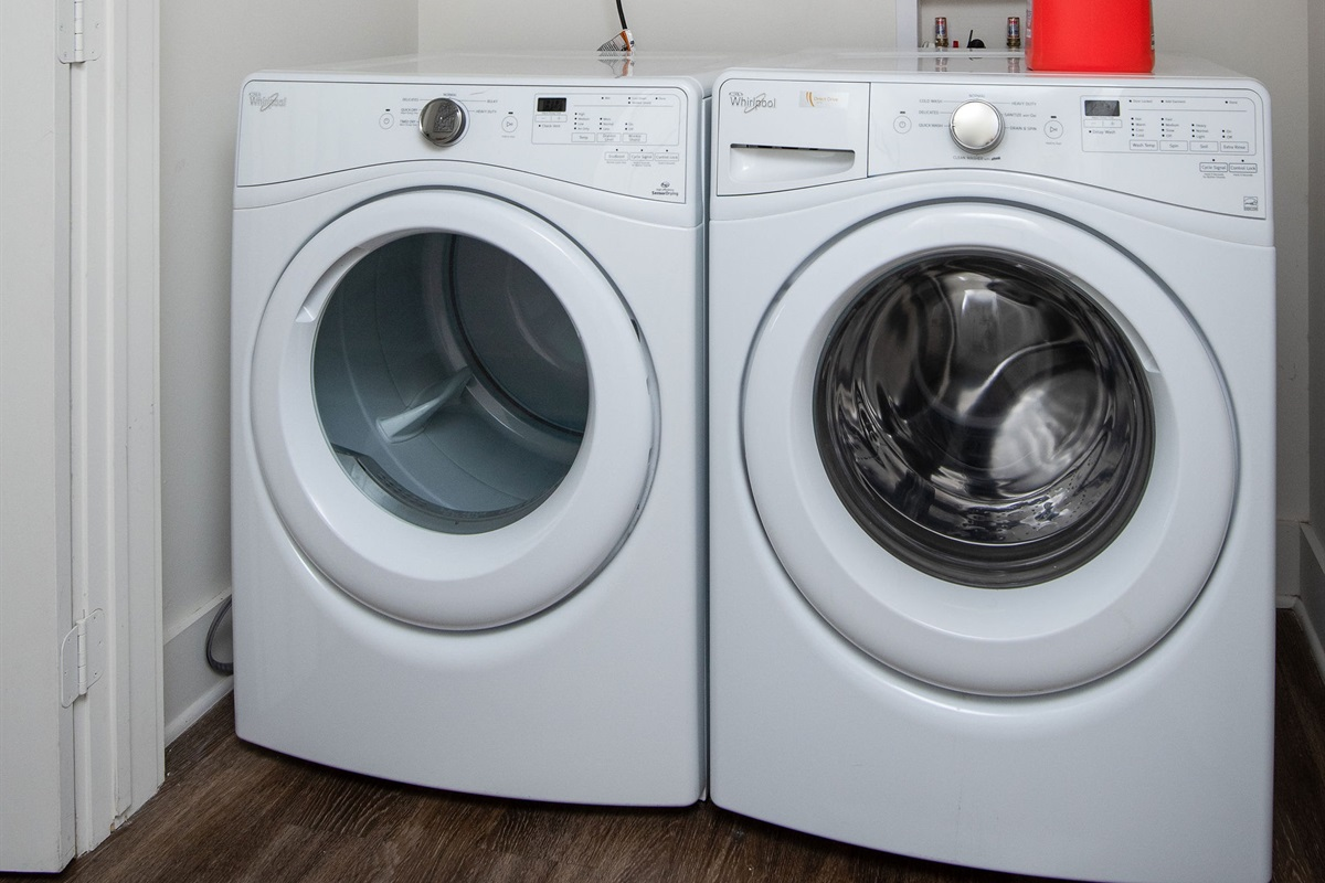 In-unit washer and dryer with laundry detergent provided