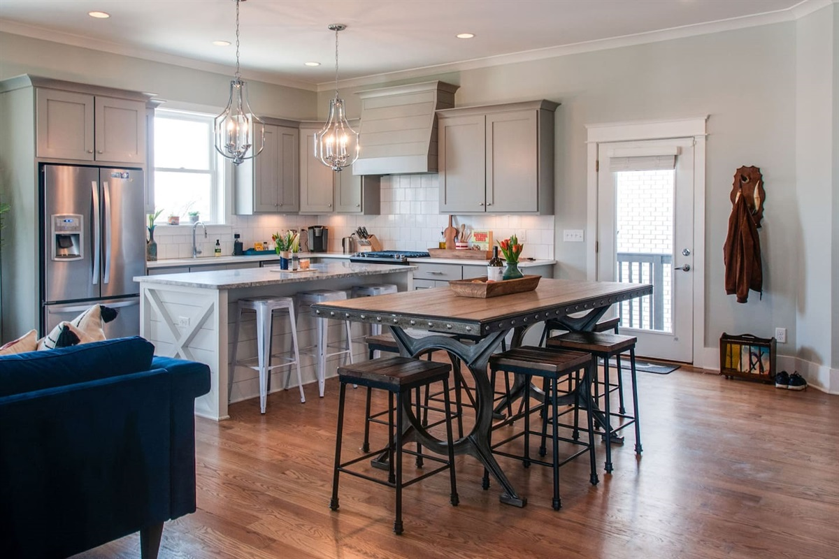 Open plan to make dining for groups easy.