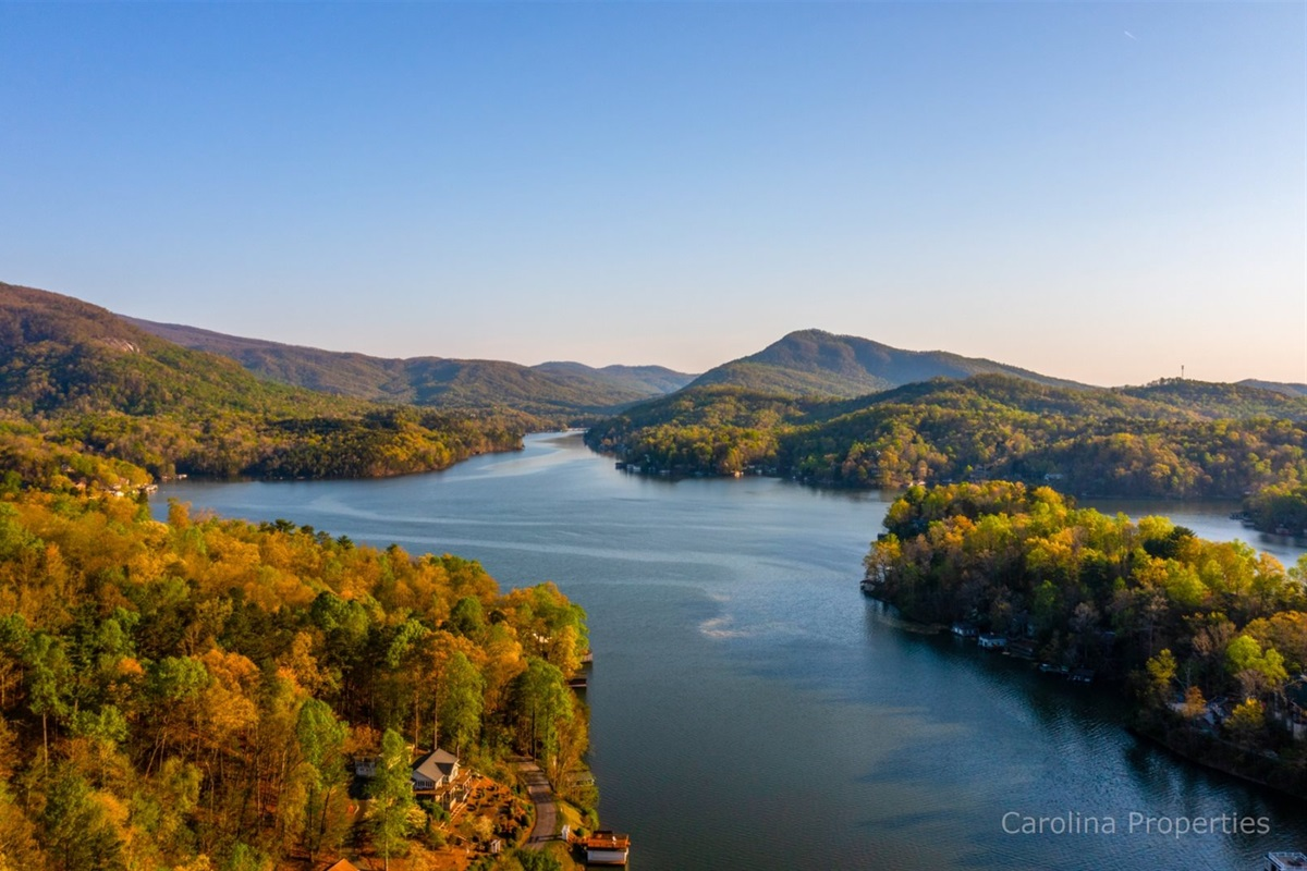 Elevated view of Lake Lure