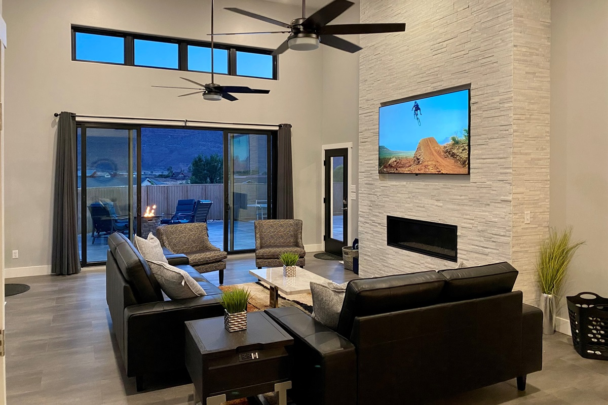 Great Room with 75 inch TV and Fire Place