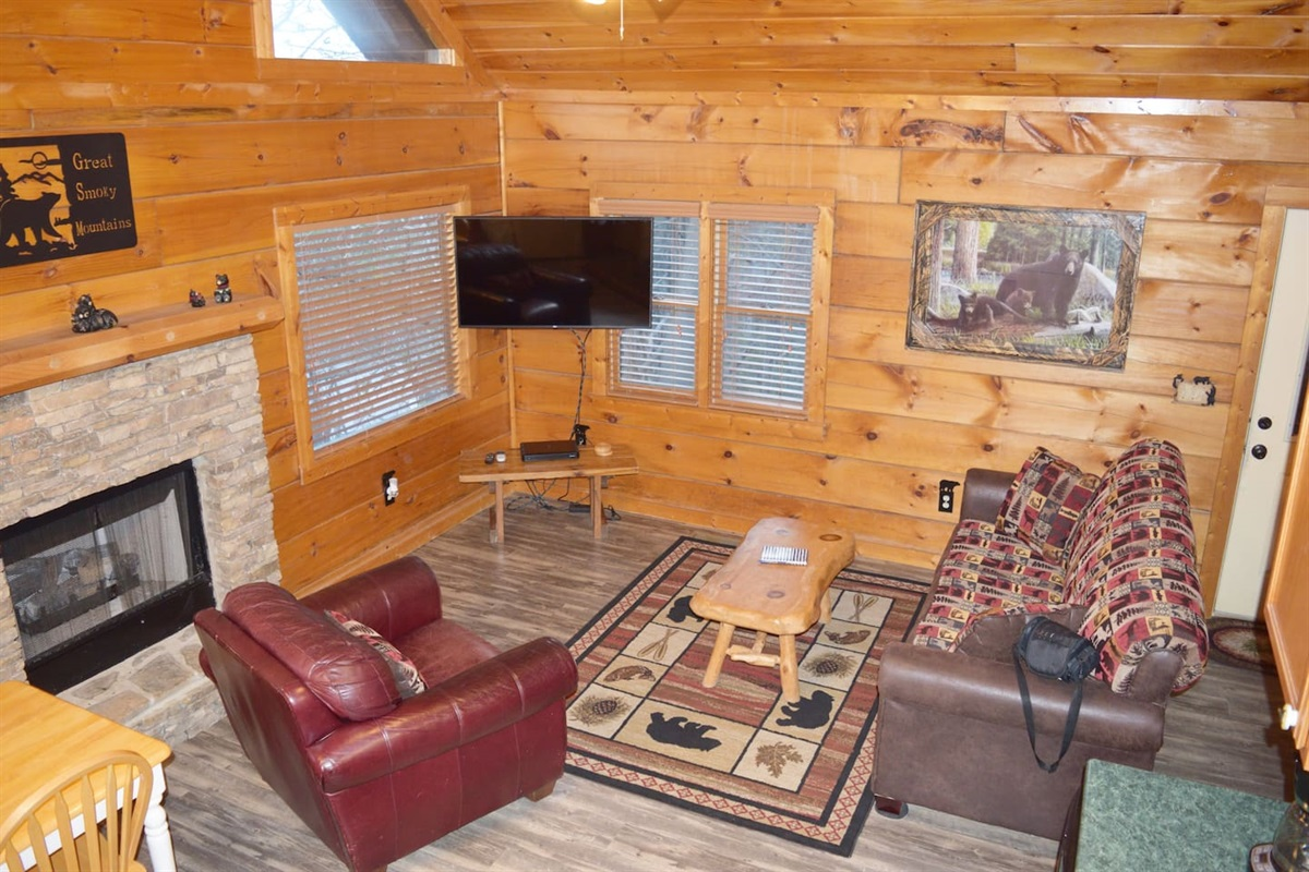 Curl up by the fireplace and watch a movie.  The sleeper sofa is located in this area