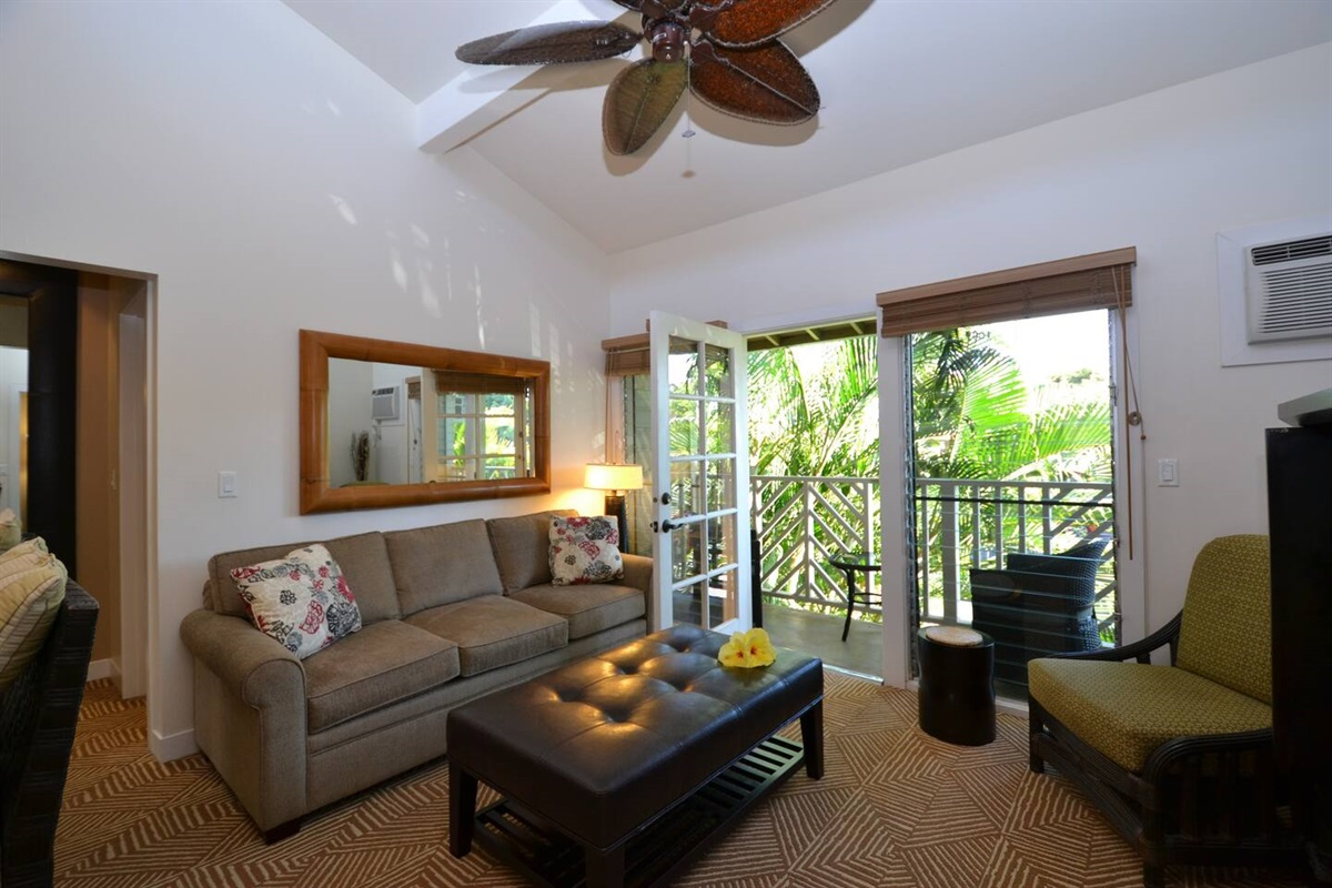 Enjoy a cup of coffee on the private lanai as you listen to the birds sing