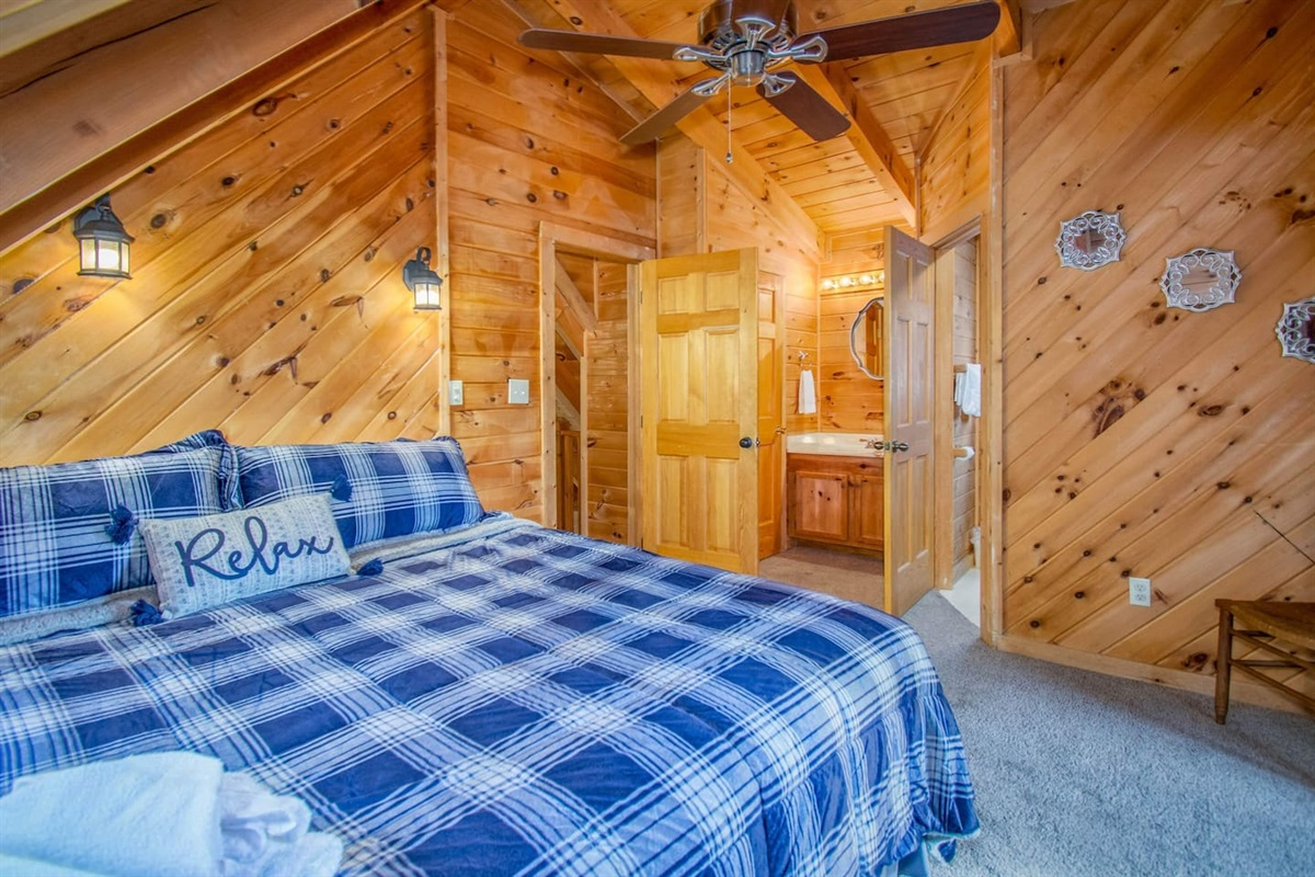 This bedroom also has a private, full bathroom.