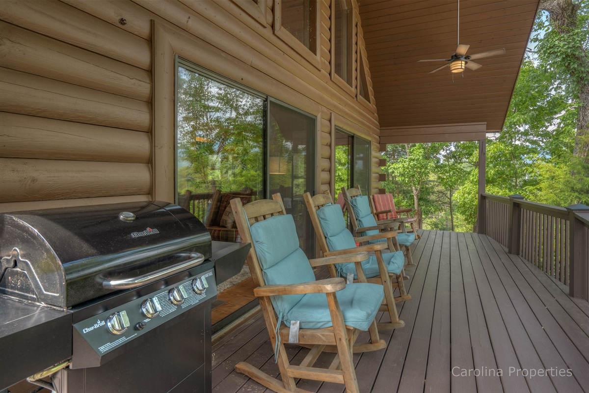 Grill and seating on the porch