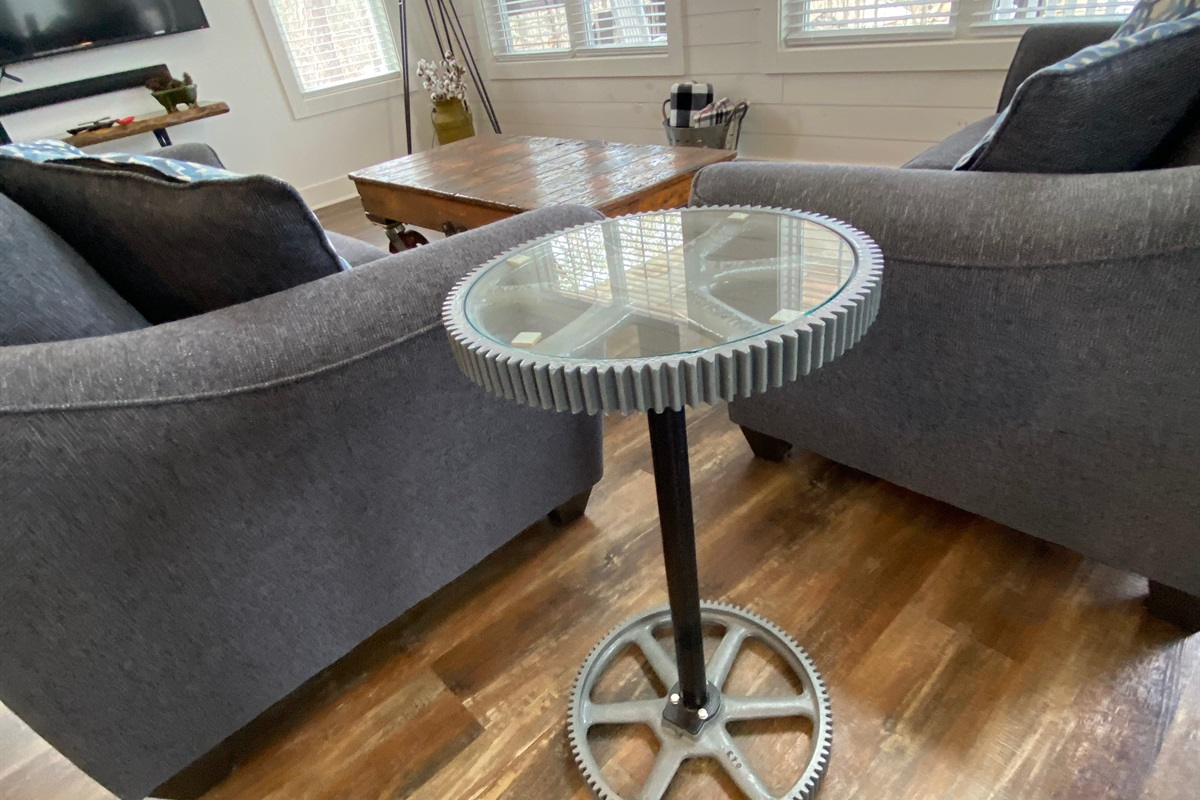 Antique Gears Repurposed into a Neat Side Table.