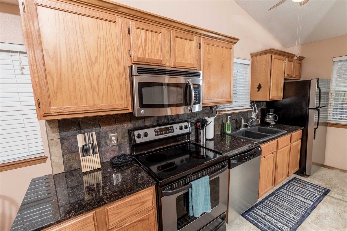 Our upgraded kitchen features granite and new appliances
