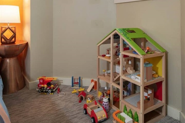 Bedroom #2 has toys hidden under the bed for families and any kids at heart.
