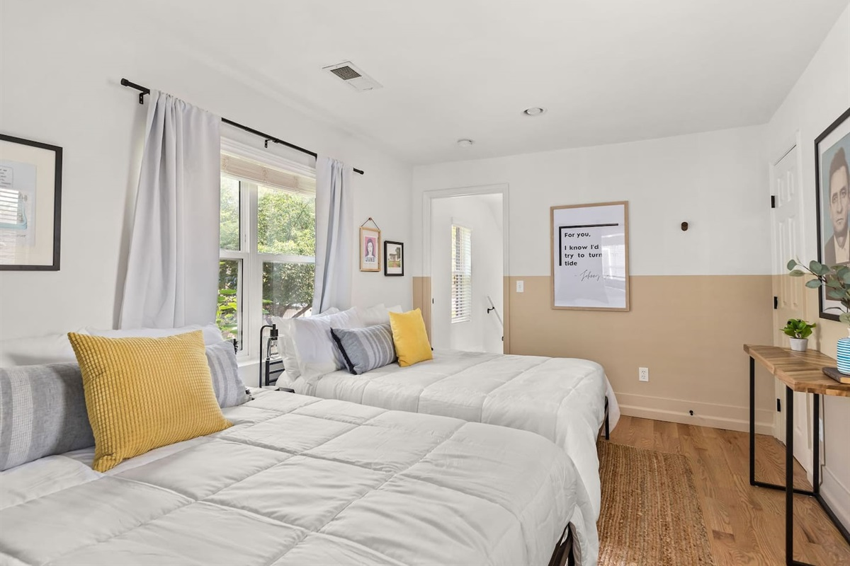 This room includes 2 memory foam full sized beds, with 4 sleeping pillows, and fresh linens