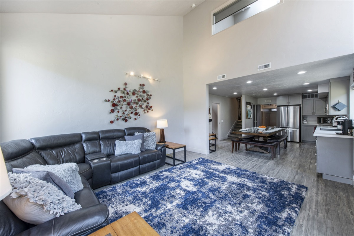 Large living area with gas fire.