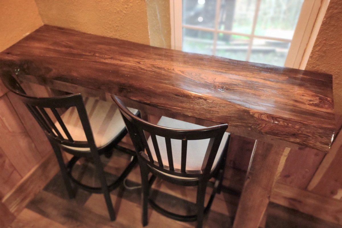 Live Edge Bar in Game Room