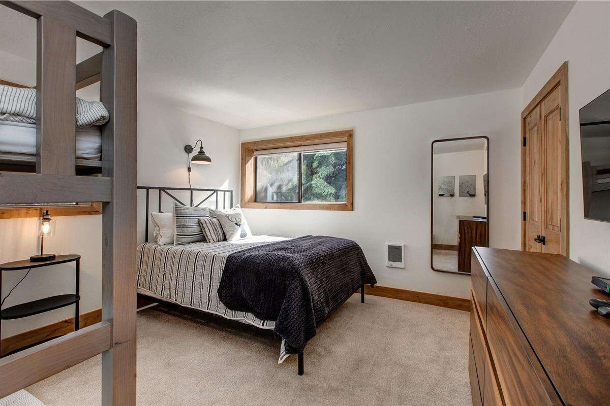 Bedroom Three - queen size bed, bunkbed, TV