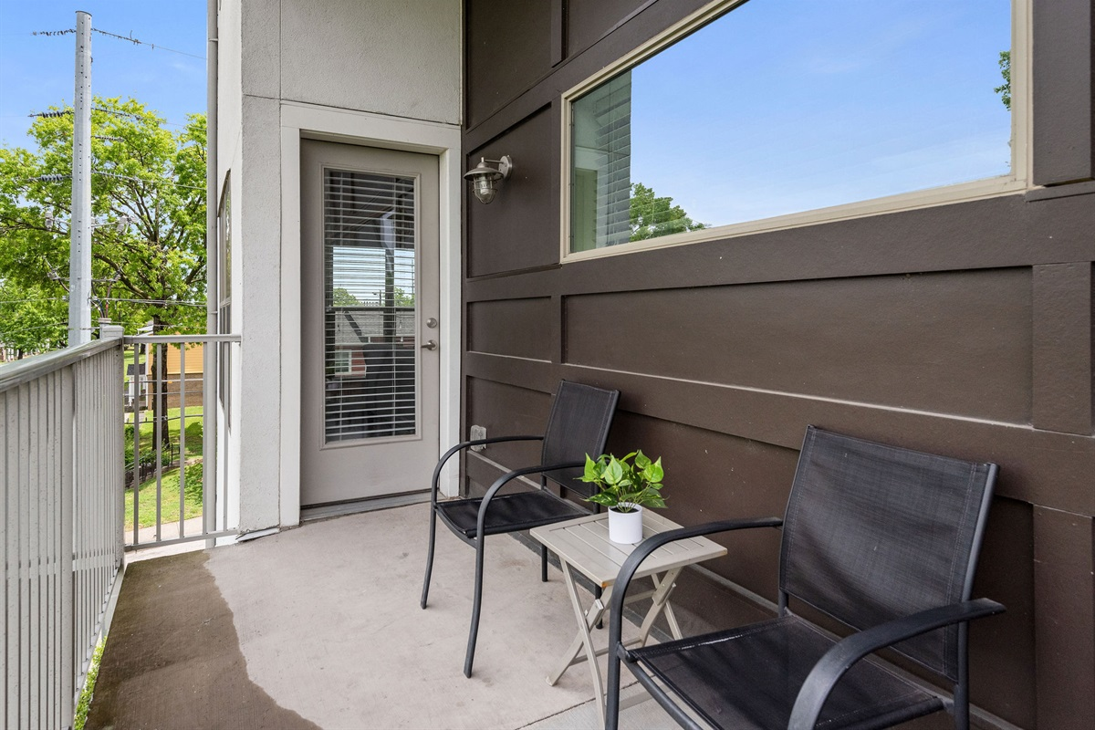 Enjoy your morning coffee or your favorite beverage on your own private patio!