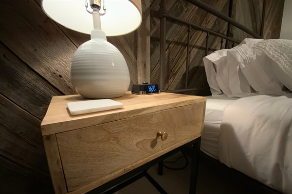 The Master and Guest Bedrooms Feature Reading Lamps and USB Charger Alarm Clocks