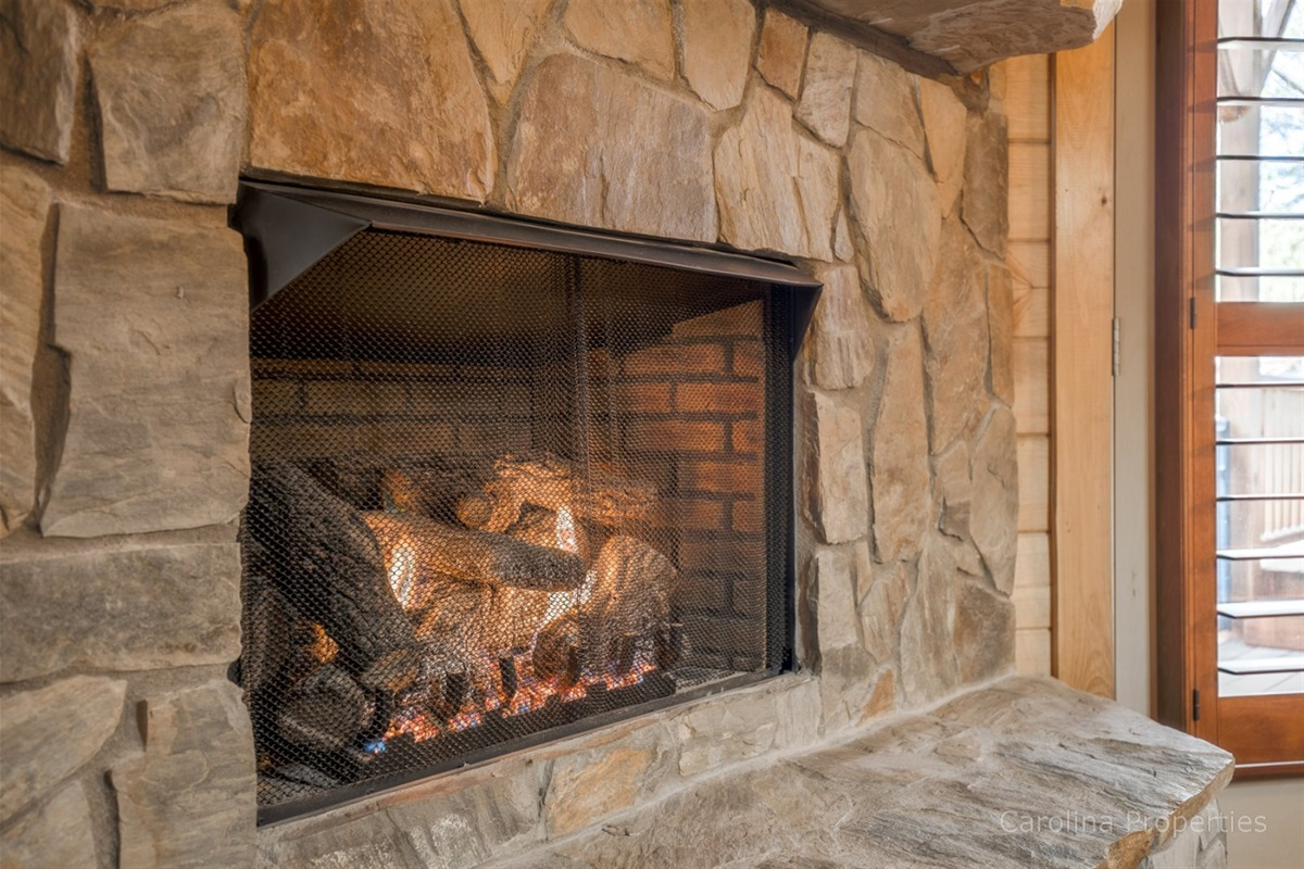 Gas fireplace in the family room to take the chill off cold nights