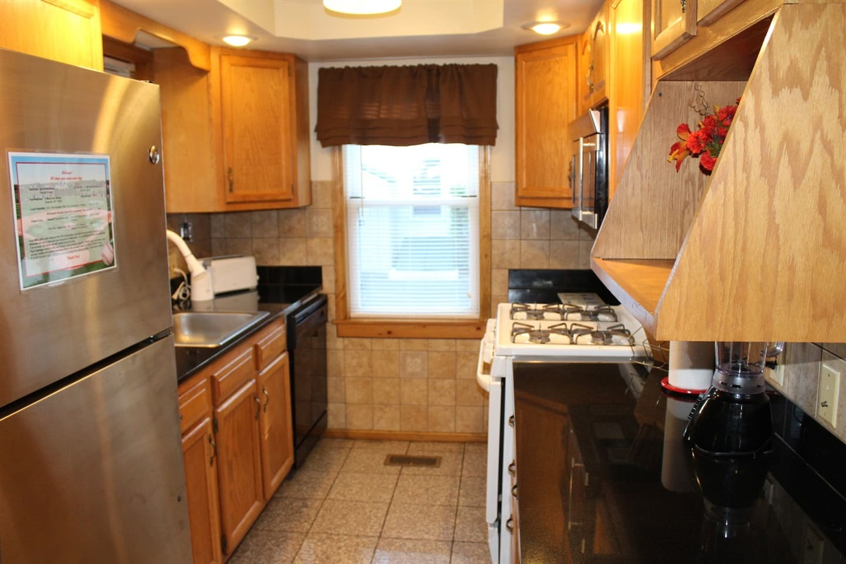 Modern Kitchen with Gas Stove, Microwave and Dishwasher
