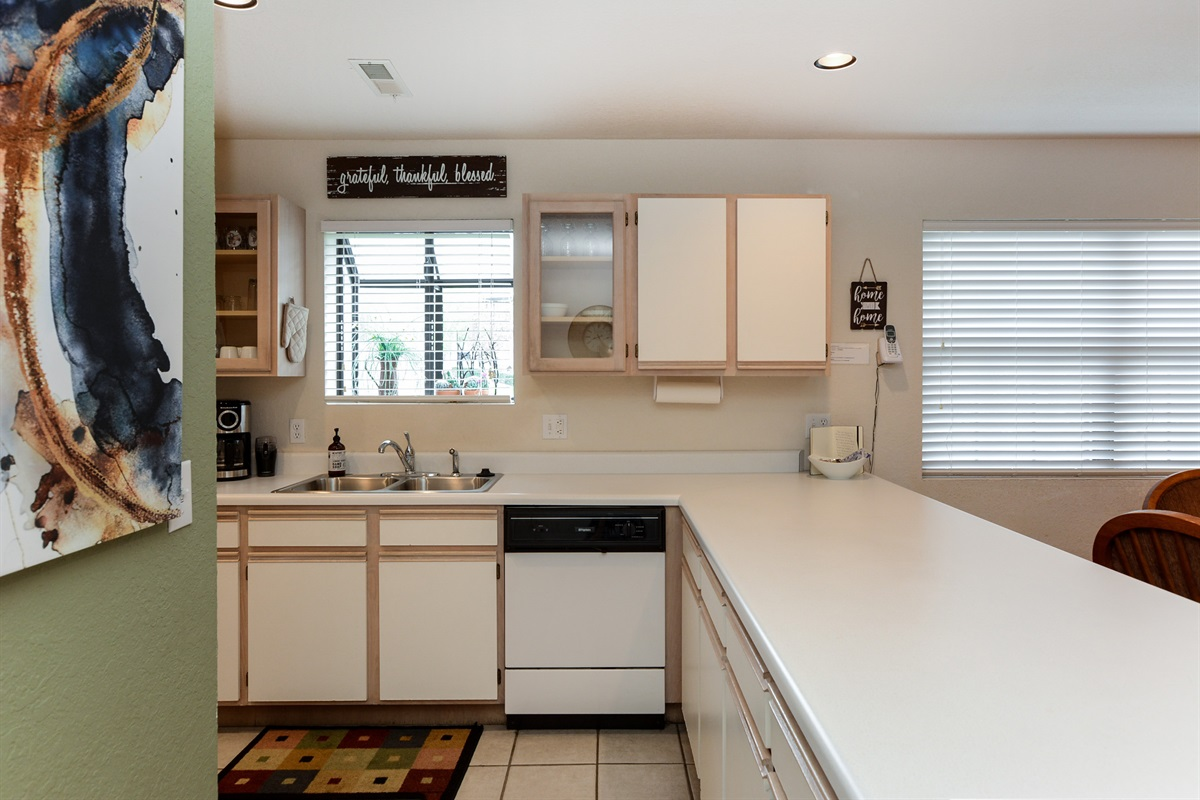 The full-sized kitchen allows you to save money by cooking for your whole family
