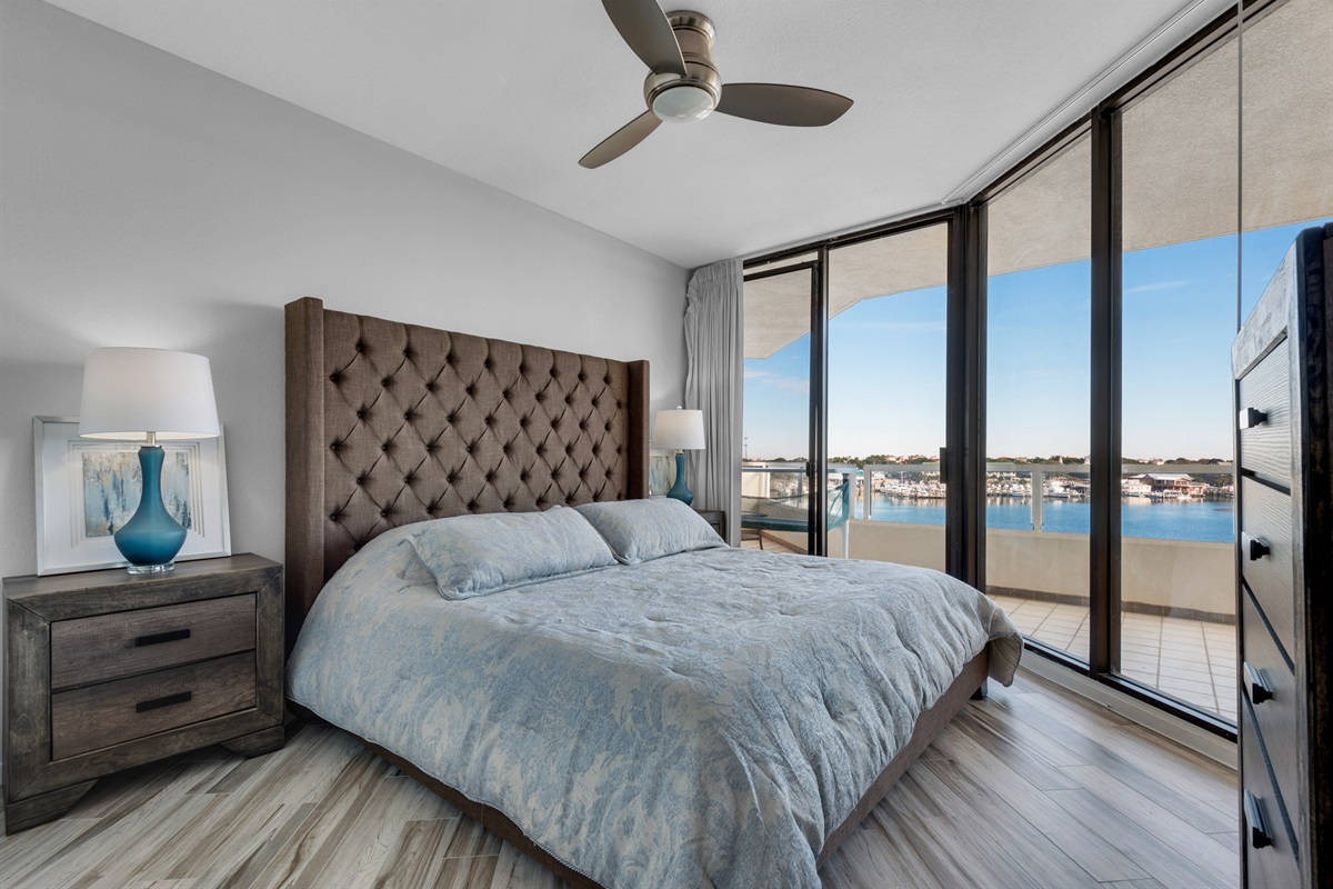 King guest bedroom with a view