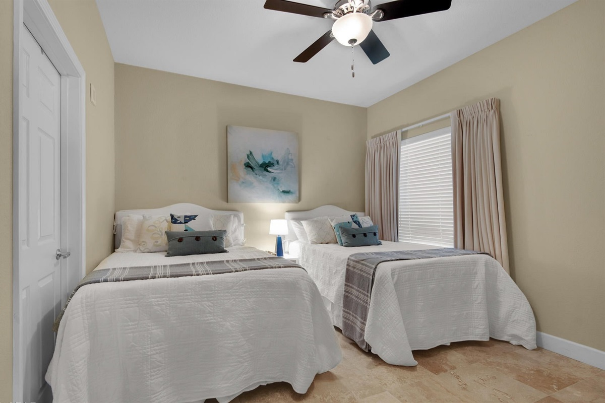 Bedroom 4 with twin full beds