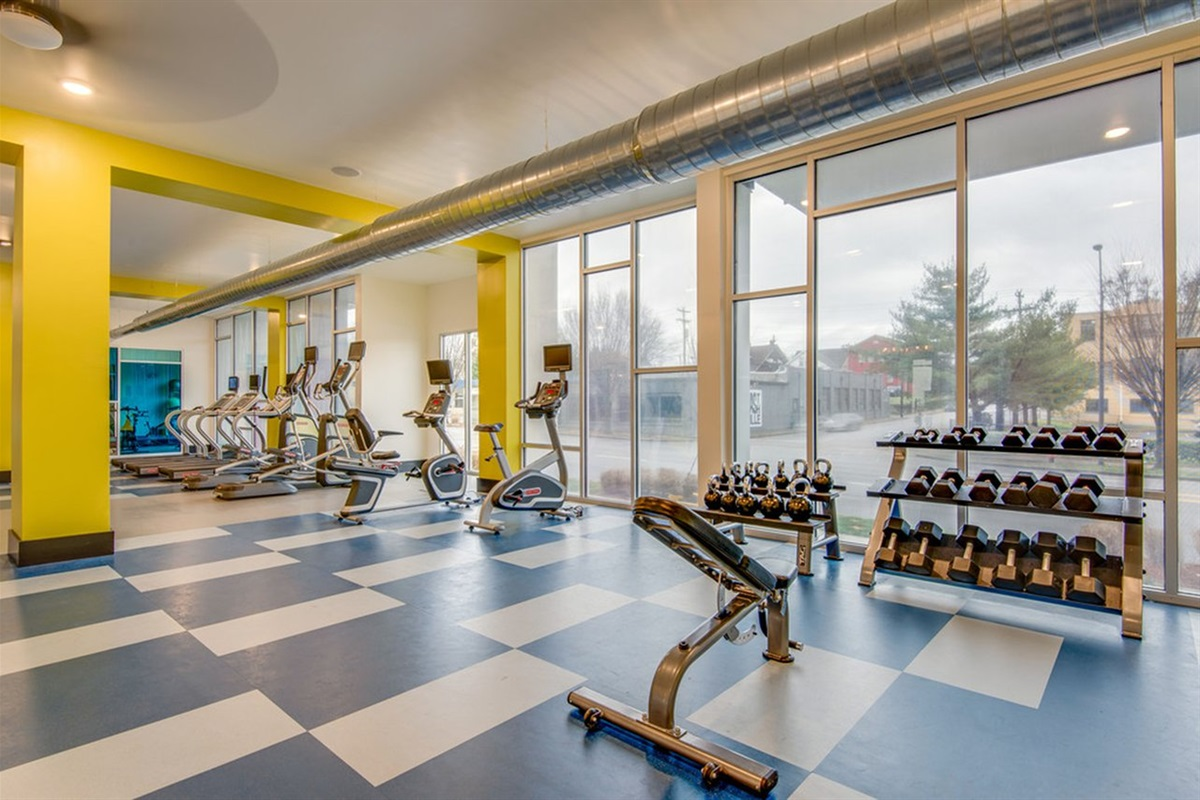 Get a workout in our full gym and spin/yoga room