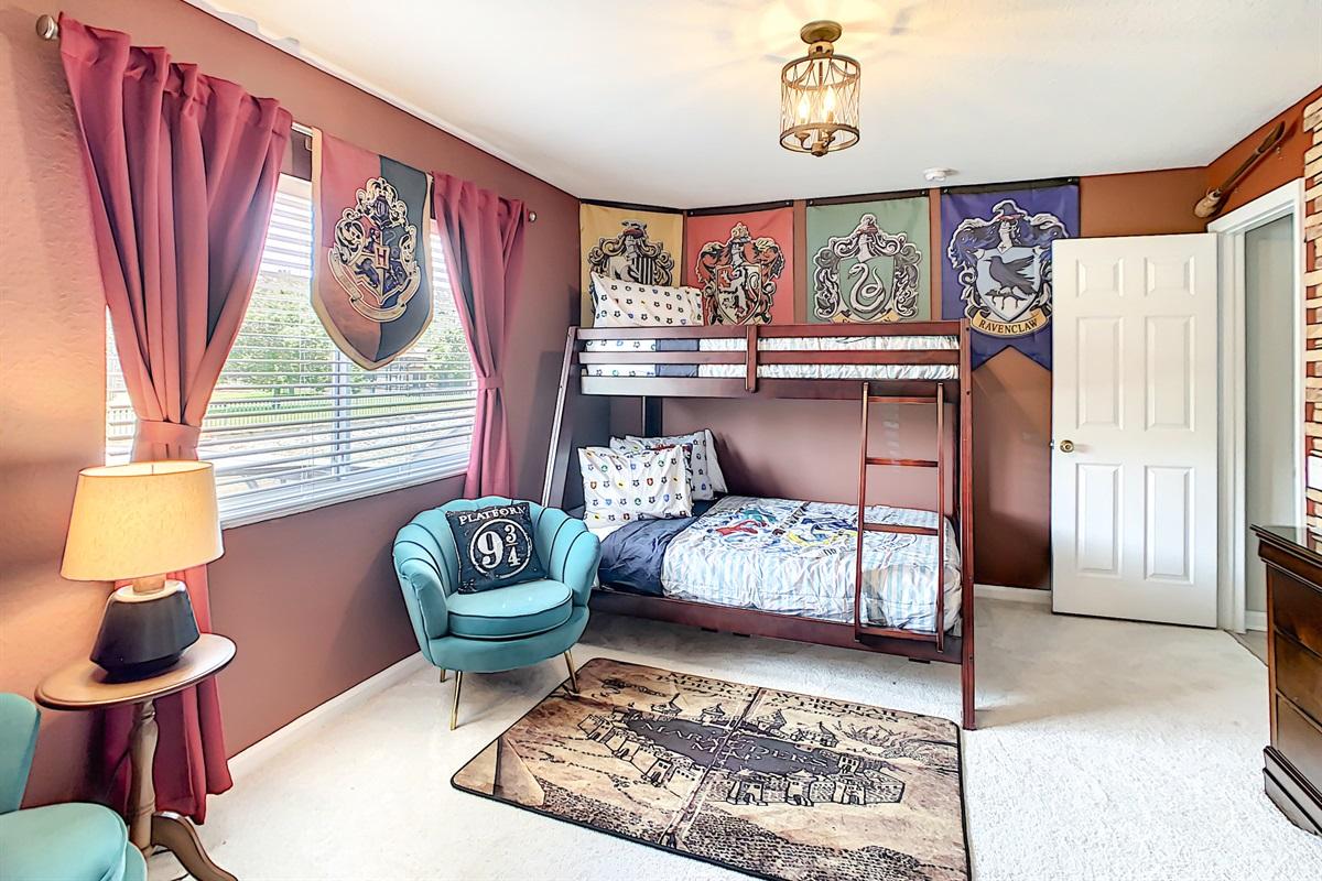 Bedroom #5- Harry Potter Theme-Bunk Beds-2nd Floor
