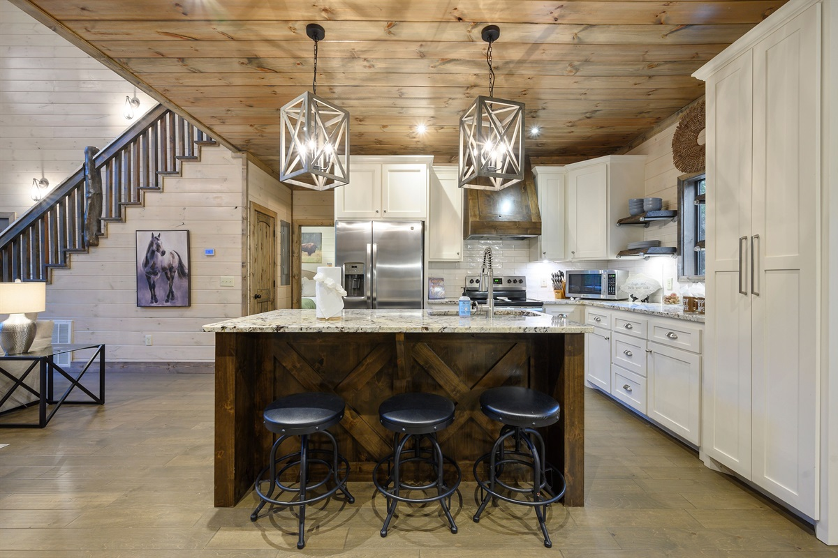 All stainless steel appliances in the kitchen