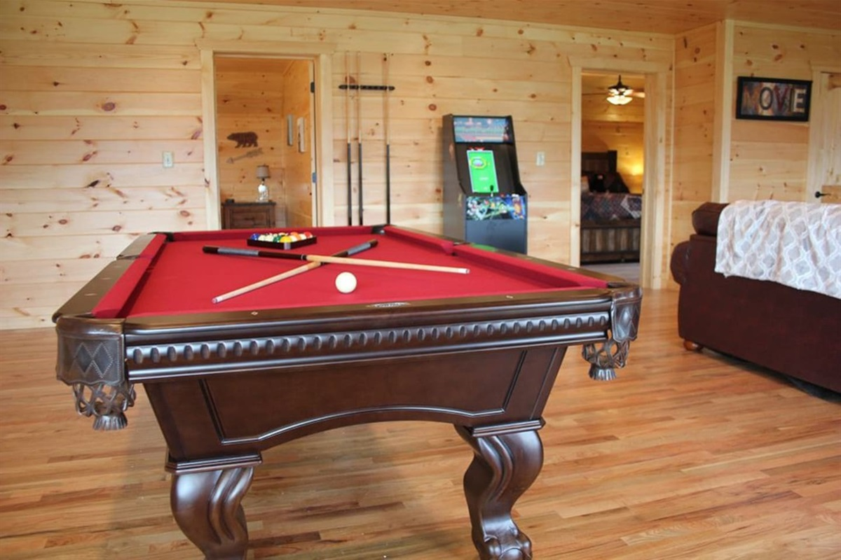 """Game Room with pool table, arcade game, Xbox and 82"""" Smart TV"""