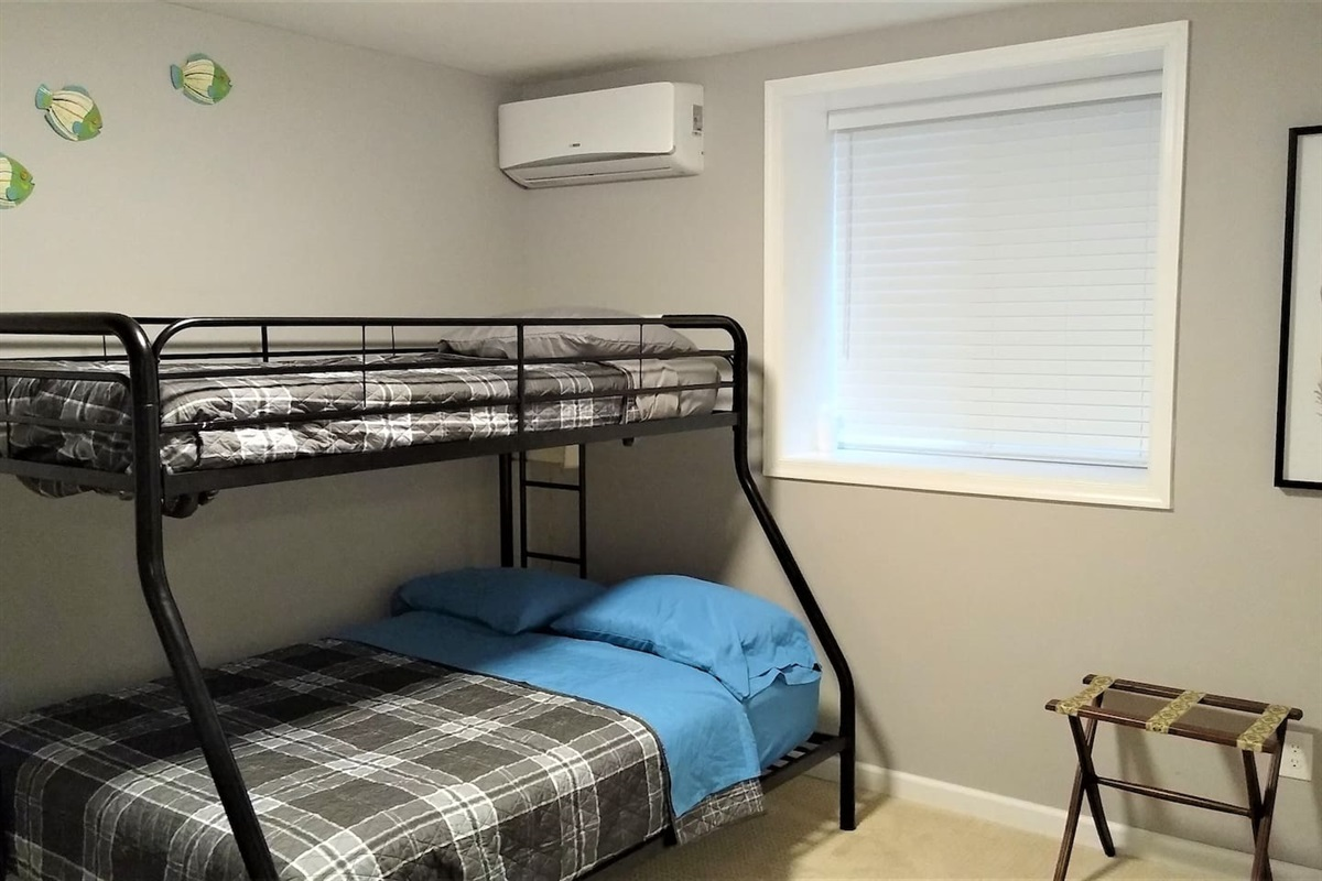 Grey Room - Twin over full bunkbed, and single twin bed