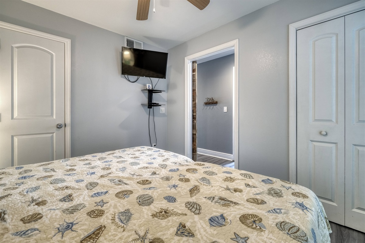 Master bedroom has HD TV and Dish Network
