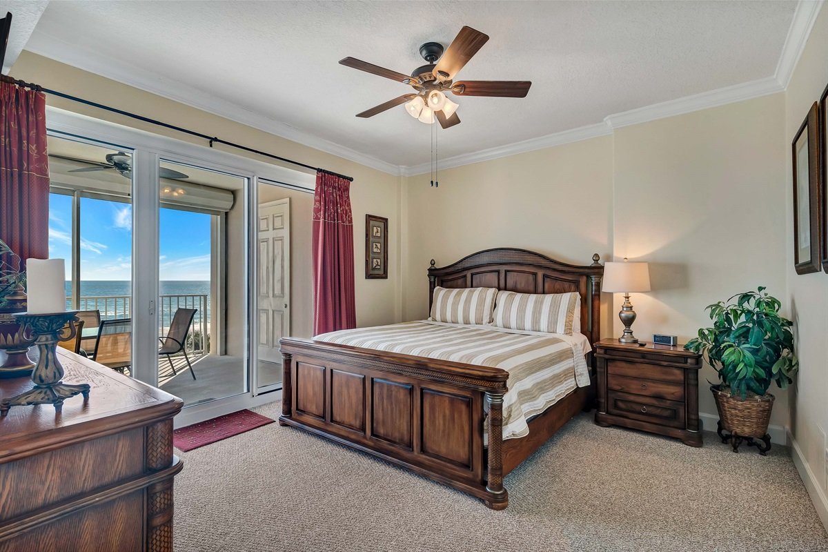 Master Bedroom with Balcony Access & Beach View