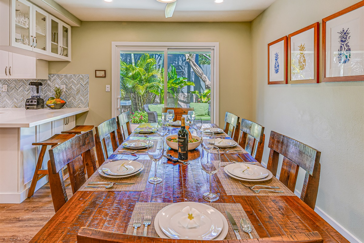 Enjoy family-style meals inside or outside