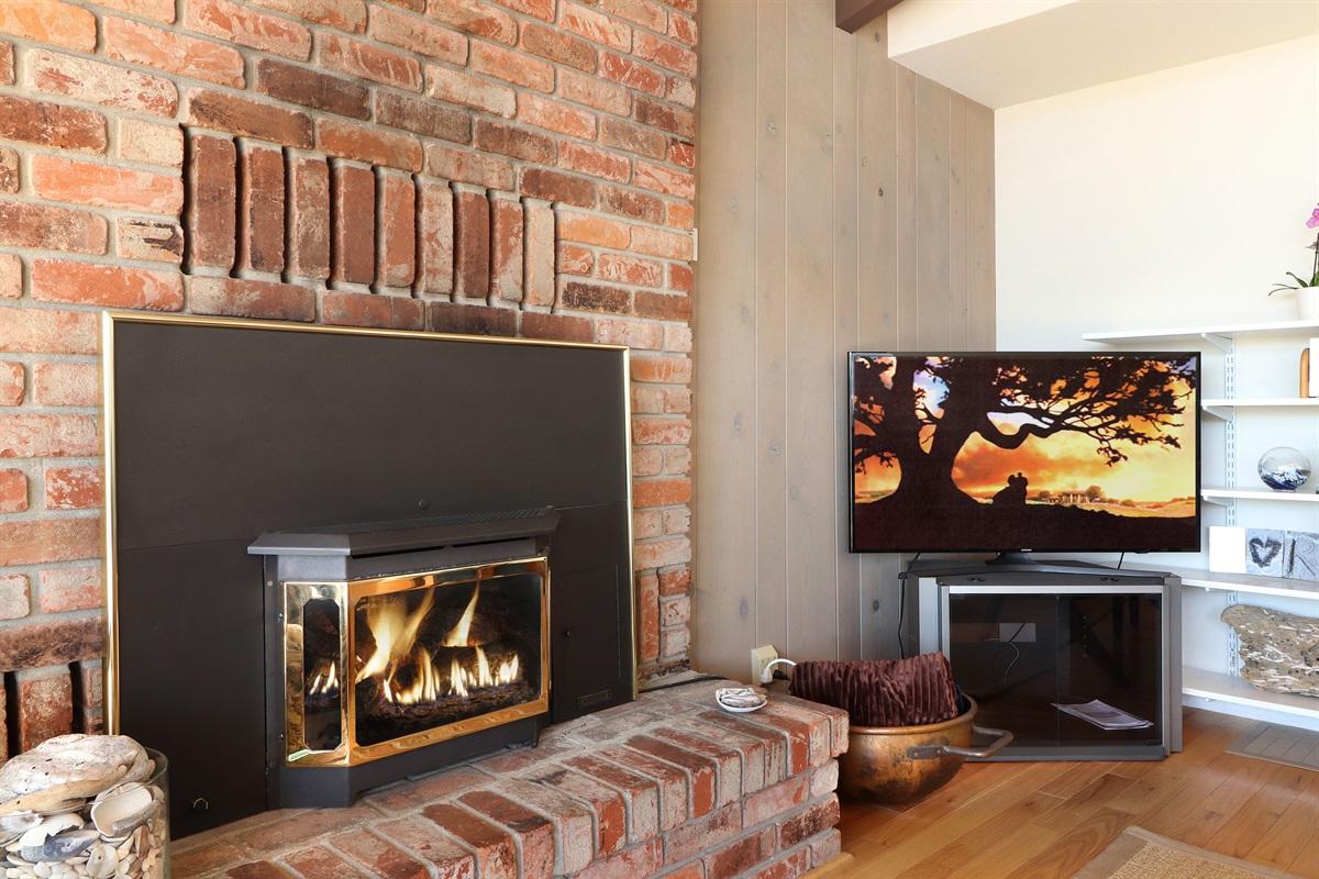 River Seascape Fireplace & Smart TV