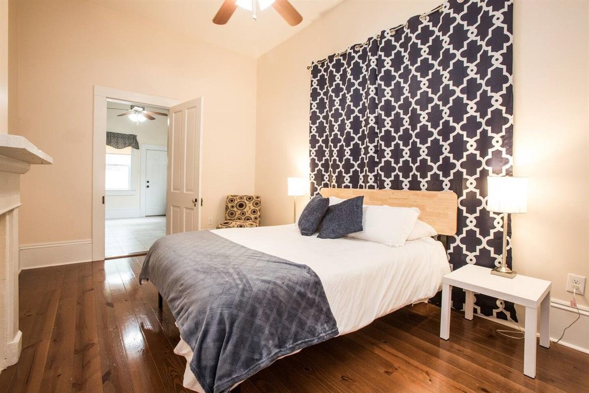 Room 3.  Queen memory foam gel mattress, cotton sheets, closet, luggage rack.