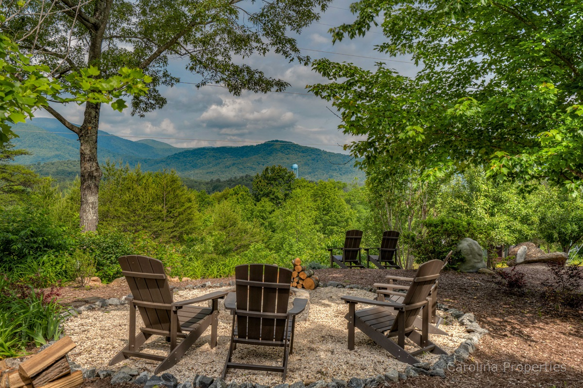 Additional view of firepit overlooking the mountains