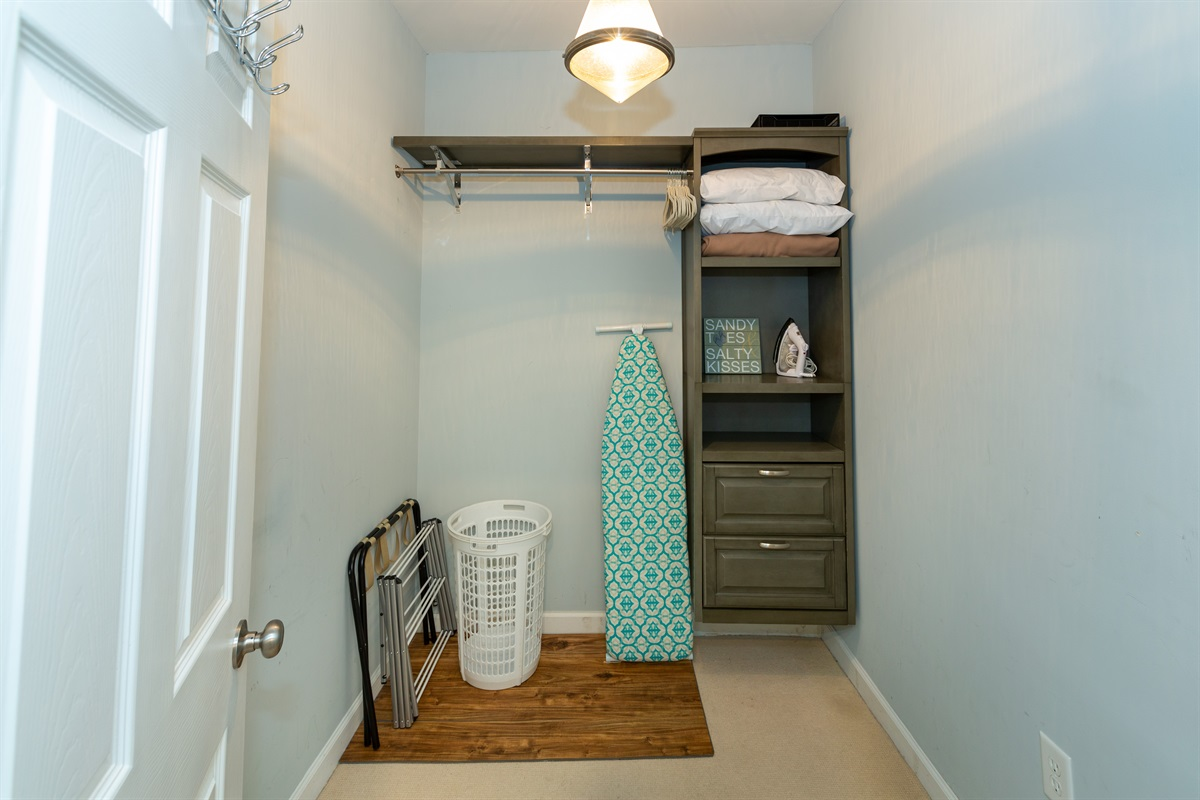 Bedrooms do not have closets to allow for more space - there is a large closet next to the bathroom for storage and hanging clothes..