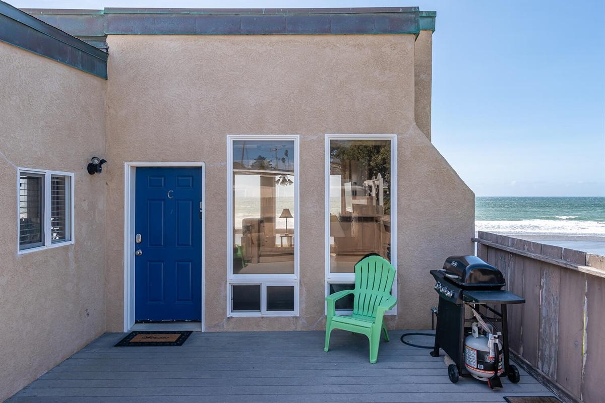 entry door and BBQ deck