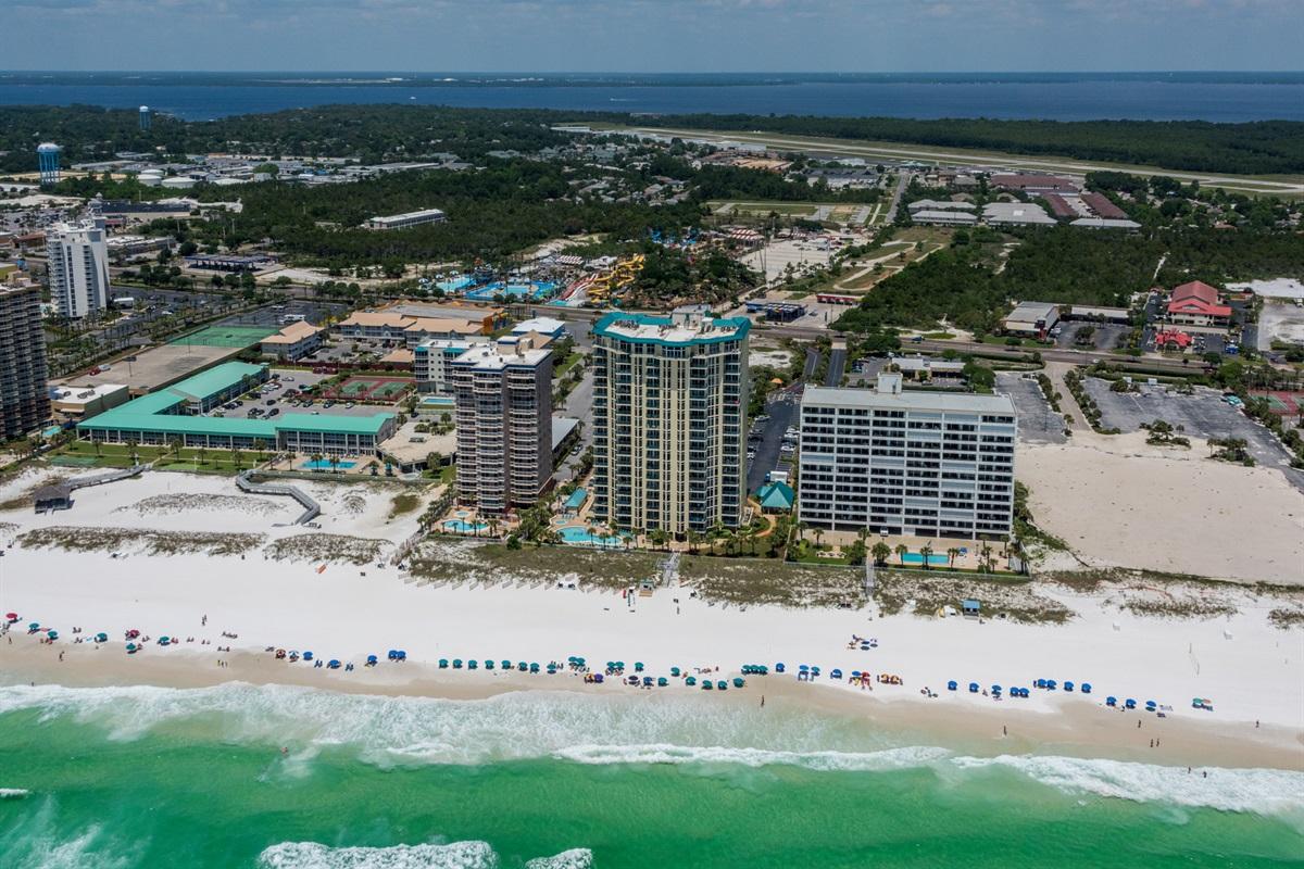 Aerial beachside view of Jade East