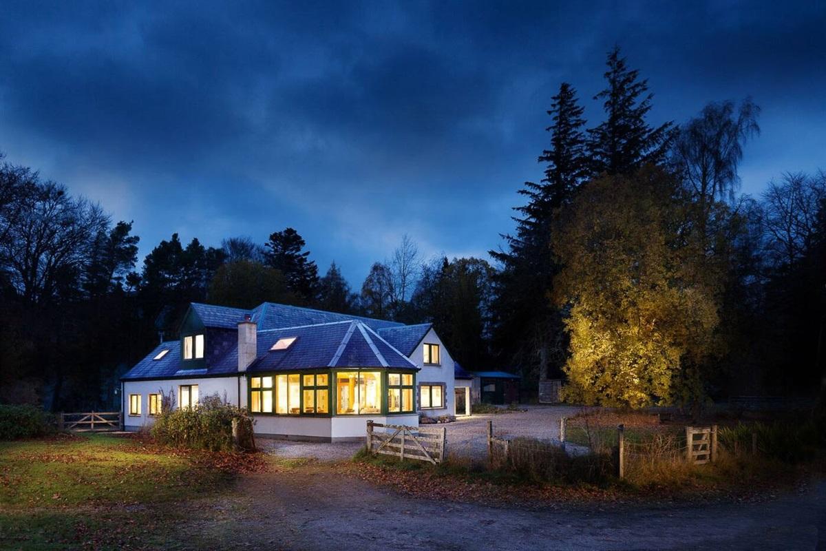 Glentruim Lodge on a wild autumn evening.