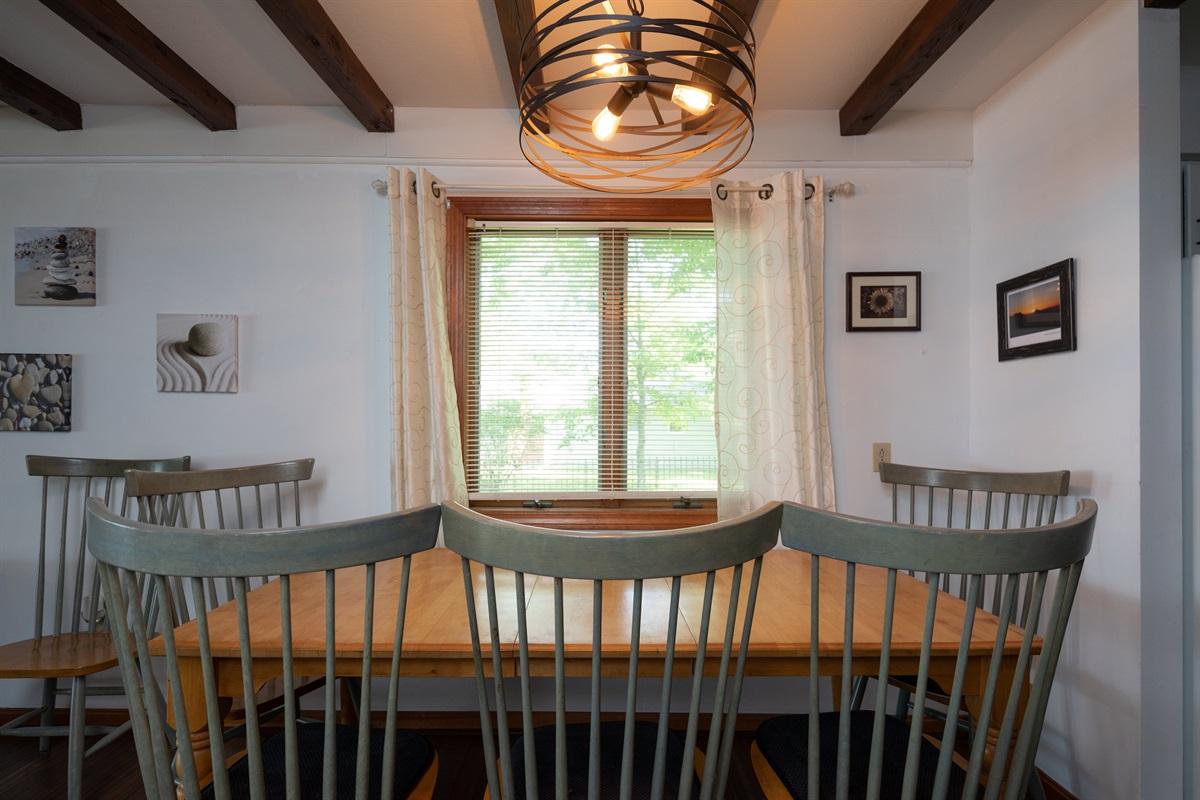 Dining area seats six