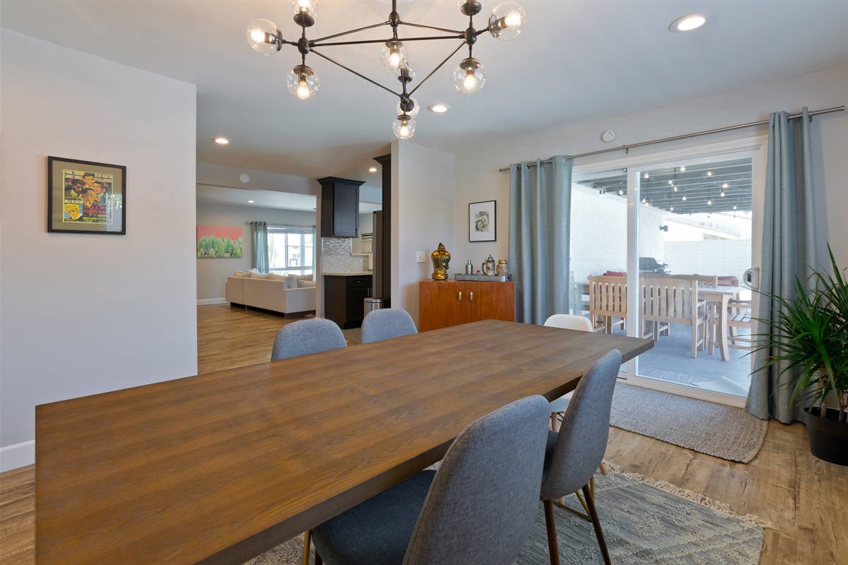 Indoor dining table with seating for six. Who's on chef duty?
