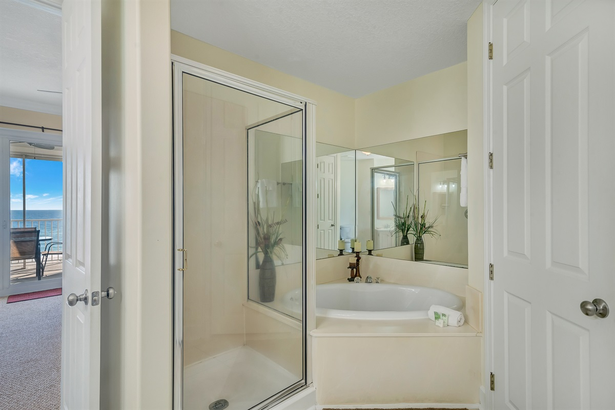 Walk-in Shower & Jetted Tub in Master Bath
