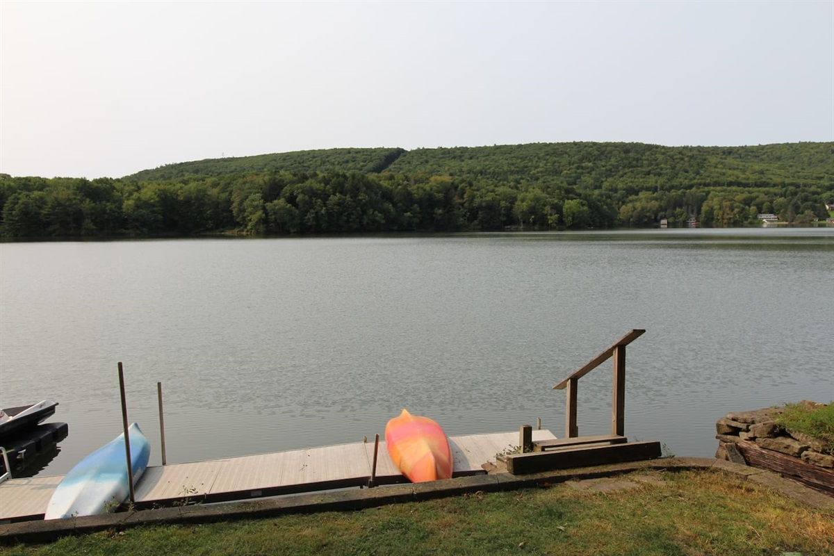 Dock with kayaks for your use, or rent a pontoon boat or personal watercraft and dock it here.