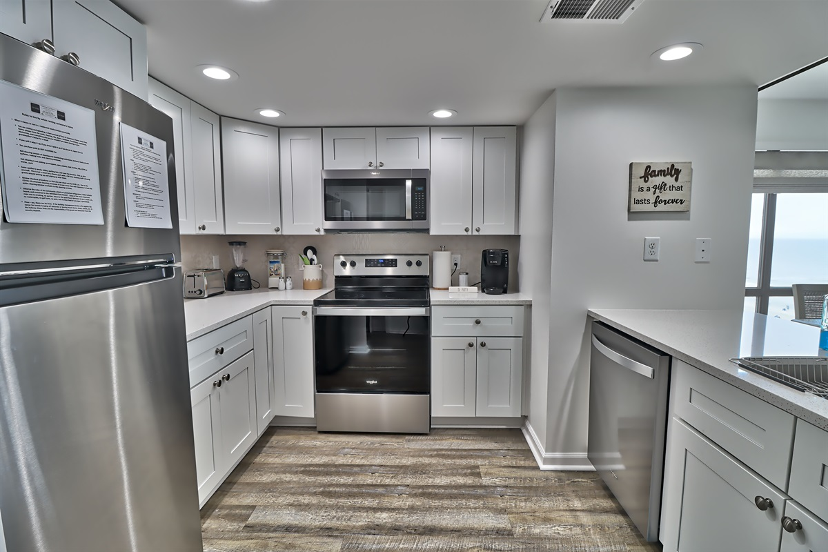 Check out the modern kitchen